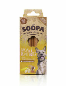 Soopa Healthy Dental Sticks for Dogs Banana & Peanut Butter Organic Low Fat Oral