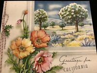 "#1971🌟Vintage 30s ""Greetings From CALIFORNIA"" POPPIES Orchard Greeting Card"