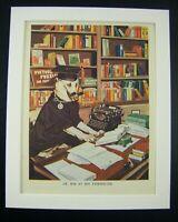 'DOG / TYPEWRITER' Vtg 1940's Retro Anthropomorphic Art Bookplate Print & Mount