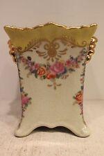"Beautiful Yellow Porcelain Square Flower Pot Floral Design Gold Gild 7"""