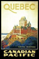 Quebec Canada 1930 Chateau Frontenac Vintage Poster Print Canadian Pacific Train