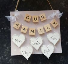 shabby chic personalised our family plaque sign