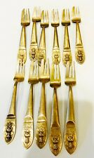 LOT OF 11 ELEVEN VINTAGE FLATWARE FISH FORKS 1960'S THAI THAILAND BRONZE WARE