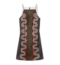 NWT Tory Burch Runway Dress Womens 6 Broderie Anglaise Crepe Eyelets Embroidered