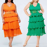 New Plus Size Women Sleeveless Solid Color Casual Party Sexy Layered Dress
