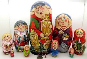 """Matryoshka Russian Nesting Dolls LARGE 10"""" hand painted Poppy Wheat SERGEYEVA 10"""
