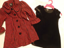 PINKY Girls 2T Black Polyester Spandex Dress & Poly Red/Black Coat Set NWT