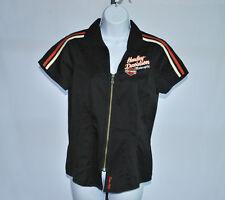 Harley Davidson Black Garage Short Sleeve Zip Front Shirt  Woman's Sz S