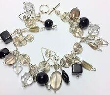 Sterling 8 Inch Charm Bracelet W/Gemstone Beads Handmade