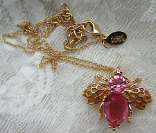 JOAN RIVERS PINK CRYSTAL HOPE BEE BUG BROOCH PIN PENDANT NECKLACE