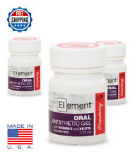 3 JARS ELEMENT 20% Benzocaine Top. Anesthetic STRAWBERRY Tattoo Numbing Piercing