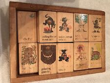 Vintage WOODEN BOX Containing 18  WOODEN NURSERY BLOCKS; Weighs 5 lbs; See Pics!