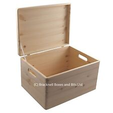 Large pine wood storage trunk chest box BPU170 39.5x29.5x23.5CM wooden