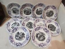 10 antiche piatti ceramica niderviller epoca 19 ° i mois de l'anno