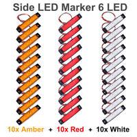30pcs 12V Red Amber Yellow 6 SMD Side Truck Trailer Boat LED Marker Rear Lights