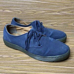 Dr Doc Martens Delray Oxford Shoes Mens Sz 11 US 45 EU Blue Canvas Lace Up