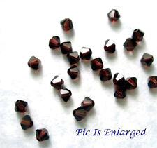 24 Burgundy Swarovski Crystal 5328 Xilion Bicone Beads 4MM