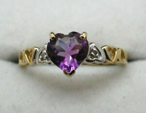 Vintage Lovely 10 carat Gold Heart Shaped Amethyst And Diamond Ring Size M