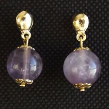 SMALL AMETHYST EARRINGS, DANGLY ROUND STONE BALL, QUALITY GOLD PLATED FITTINGS