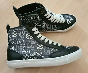 CHRISTIAN LACROIX Womens Mid Top Skater Sneakers Shoe Size 7.5 Black White NWOT