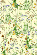 Fat Quarter Wildflowers Meadow Flowers Floral 100 Cotton Quilting Fabric Yellow