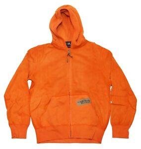 $398 Ralph Lauren RRL Men Hooded Hoodie Full Zip Sweatshirt Hunting Orange Small
