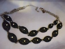 Juliet And Company Silver Tone  Rhinestone & Black Metal Choker Necklace-Signed