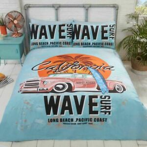 Retro California Surf Vintage Coche Reversible Funda Edredón Colcha Juego