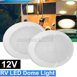 2x 12V LED Single Pancake Light Caravan Interior Oval Ceiling Lamp Camper
