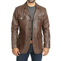Men's pure Sheep leather Jacket new style Blazer chocolate brown coat