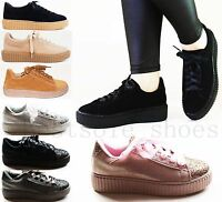 NEW WOMENS LADIES PLATFORM FLATFORM WEDGE CHUNKY LACE UP TRAINERS CREEPERS SIZE