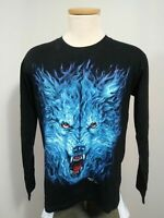 Rock Chang Long Sleeve Dual Graphic T Shirt Men's Medium Glow In The Dark Wolf