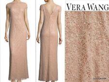 NWT VERA WANG Size 6 Cap Sleeve V-back Soft Pink Sequin knit Column Gown Dress