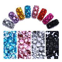 1000pcs 3D Nail Art Decoration Crystal Rhinestones Purple Blue Heart Flat Bottom