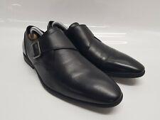 Men's Clarks Black Leather Monk Buckle Formal Shoes Ortholite Insoles 8 UK 42 EU