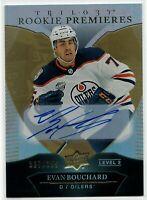 18-19 UD Trilogy Evan Bouchard Rookie Premieres Auto SP RC Edmonton Oilers /399