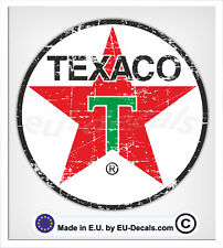 100mm-4* Distressed Vintage Texaco Oil Laminated Decal Sticker vespa vw classic