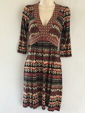 Red Herring Dress 8 African Aztec Tribal Look Print Jersey Dress RRP£35
