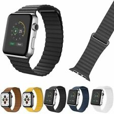 Genuine Leather Magnetic Loop Band For Apple Watch Series 5 4 3 2 1 iwatch Strap