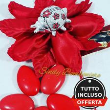 Sacchetti bomboniere laurea coccinella portafortuna argentata confetti rossi
