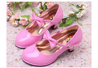 CHILDRENS GIRLS KIDS HIGH MID HEEL PARTY SHOES BRIDESMAID MARY JANES PUMPS SIZE