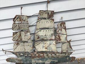 "Antique Schooner Clipper Ship Weathervane Folk Art Painted Metal Lead 30""x25"""