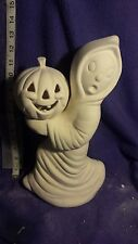 "Ghost Holding Pumpkin 12"" x 7"" ceramic bisque U paint with corded clip light"