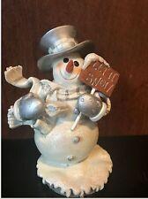 Snowman Figurine Ceramic Christmas Decor Desktop Ornament
