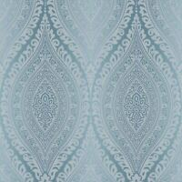 KISMET DAMASK GLITTER WALLPAPER TEAL GRANDECO A17702 - BLUE NEW