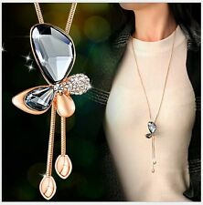 Adjustable Rose Gold Crystal Butterfly Charm Pendant Sweater Chain Necklace SC