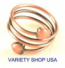 Antiqued Copper Designer Ring Adjustable Spiral R018C