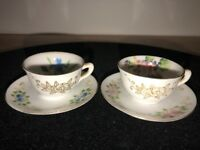 Lot of 2 Vintage Mini Tea Cups and Saucers  Occupied Japan Floral