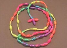 "Knotted Rosary Knot Design 30"" Loop 5"" Drop Necklace NEON RAINBOW Low Stock!"