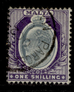 MALTA EDVII SG61, 1s grey and violet, VERY FINE USED. CDS